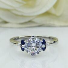 Engagement Ring Solid 925 Sterling Silver 2.18Ct White Round Blue Accent Diamond