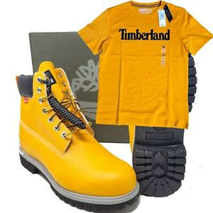 """Timberland Heritage Premium 6"""" Inch Helcor Orange Boots A2NBW US 10 & T-Shirt"""
