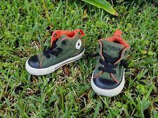 Converse Toddler Boys Sz 5 Slip-On Chuck Taylor's Army Green Orange Stretch Lace
