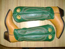 "Men's 17"" Tall Top Honcho Cowboy Boots Suntan Leather Oil Resistant Soles 9.5 D"