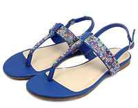 JOSALYN-22 T-Strap Thong Toe Gladiator Flats Sandals Bead Women Shoes Blue 7.5