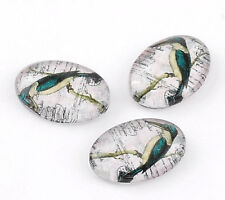 WOW 10 Elegant Kingfisher Design Glass Oval Cabouchon Embellishments  FREE P&P