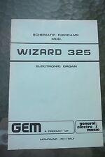 Original Gem Wizard 325  Electronic Organ Schematic Diagrams Manual