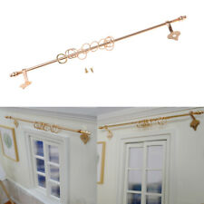 1/12 Miniature Dolls House Brass Extending Curtain Rail Rod & Rings Screws