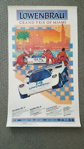 IMSA Lowenbrau Grand Prix of Miami 1987 Poster Porsche Corvette Ferrari GTP MINT