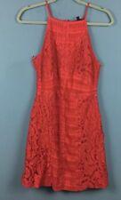 Topshop Orange Red Lace Strappy Bodycon Mini Dress 12 - B58