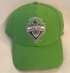 NEW Seattle Sounders FC Adidas MLS Team Structured Adjustable Hat Soccer Cap
