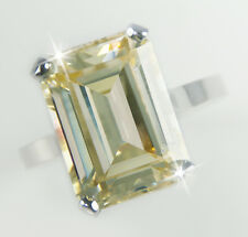 10 ct Canary Emerald Cut Ring Vintage Top Russian Cz Moissanite Simulant Size 4