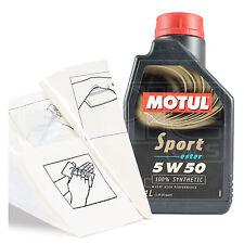 Engine Oil Top Up 1 LITRE Motul Sport 5W-50 Engine Oil 1L +Gloves,Wipes,Funnel
