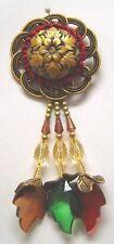 Rosette with Beads Tassel Fringe  Antique Gold Red Brown Green 385E-0230