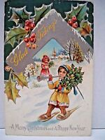 """VTG. LATE 1890's """"GLAD TIDINGS"""" POSTCARD  - MERRY CHRISTMAS & HAPPY NEW YEAR VG"""