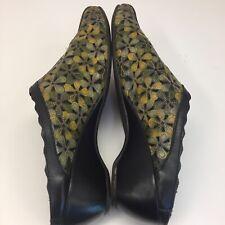 Pikolinos Floral Laser Cut Leather Slingback Wedge Sandals Sz 41 Green Metallic