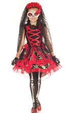 Girls Red Day of the Dead Zombie Bride Skeleton 3 Piece Halloween Costume Kids