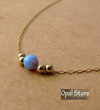 gold necklace, blue opal jewelry, chain Opal necklace, opal ball necklace, opal