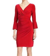 Lauren Ralph Lauren Bell-Sleeve Jersey Dress Parlor Red Petite Size 2P $135