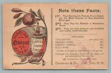Florida Orange Cider & Cherry Cordial ST. JOHN New Brunswick~Antique Advertising