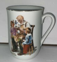 "Norman Rockwell Museum The Toymaker Coffee Mug Tea Cup 4"" (Gold Trim) 1982"