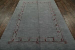 Contemporary Bordered Gabbeh Oriental Area Rug Handmade Wool Gray Carpet 6x10 ft