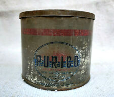 1920s Vintage Philippine Manufacturing Purico Pure Vegetable Fat Litho Tin Box