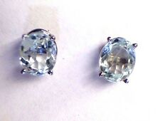 Brilliant! 1.80CT Oval Genuine Icy Blue Aquamarine 14K White Gold Stud Earrings
