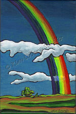 Severe Weather storm Rain Rainbow EBSQ Loberg Original Art painting landscape