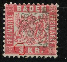 Baden 24 PF XI, 3 AP 1868 pattenfehler XI, timbrato, #a316