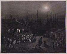 """Doré-Londres; """"Los Muelles-escena nocturna"""", antiguo grabado en madera, C.1870"""