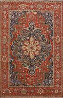 9x12 Geometric Heriz Serapi Oriental Area Rug Vegetable Dye Hand-knotted Carpet