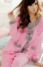 Women Pink Big Bow Coral Fleece Winter Pajamas Set ~ Size M