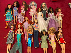 Mattel Barbie Doll Mixed Lot Of 16 With Clothes