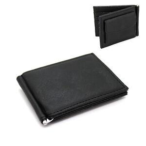 Portafoglio uomo slim ecopelle con clip per banconote porta carte portamonete