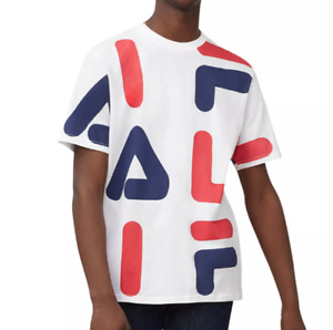 FILA Graphic T Shirt Mens Authentic Bennet Short Sleeve Jersey Cotton Tee White