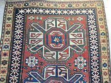 Circa 1900 Antique Caucasian Kazak Animal Skin Motif Rug, 4x9, Rectangle