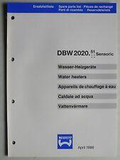 WEBASTO Wasser-Heizgeräte DBW 2020.51 Sensoric Ersatzteilliste, 4.1986, 12 S.