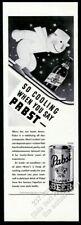 1939 art nouveau skiiing skier Pabst Blue Ribbon Beer vintage print ad