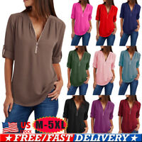 Plus Size Women Chiffon V Neck Shirt Tops Zipper Long Sleeve Loose Solid Blouse