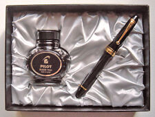Pilot CUSTOM 823 Plunger 14K Fountain Pen, Gift Box Ink Set, Sheer Black, M nib