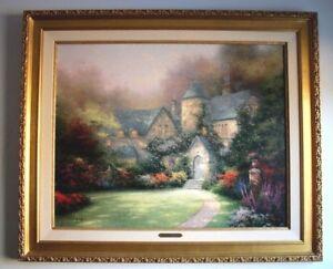 "Thomas Kinkade ""Beyond Autumns Gate"" S/N Framed Canvas 24 X 30"