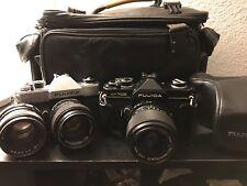 Fuji Film Fujica ST801 35mm Spiegelreflexkamera/ST 705 Lot von zwei Kameras 3 Objektive Tasche