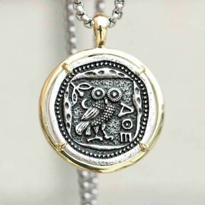 Vintage Coin Greek Necklace Owl of Athena Phoenix Pendant Greece Chain Gold Ring