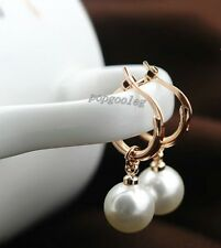 18K rose Gold GP dangle pearl droplets small hoop studs earrings women free ship