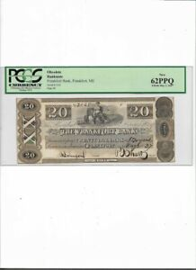 OBSOLETE BANK NOTE, $20 Frankfort Bank, Frankfort, ME  New 62PPQ