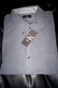 NWT CALVIN KLEIN MENS LONG SLEEVE  DRESS SHIRT REGULAR FIT-GRAY-2X / XXL