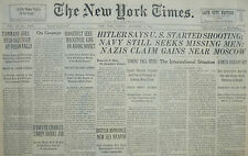11-1941 WWII November 2 HITLER SAYS U.S. STARTING SHOOTING KEARNY GAINS MOSCOW