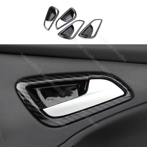 4X Carbon fiber color ABS Door Handle Bowl Cover fit For Ford Focus 2012-2014 ST