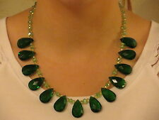 Emerald Green Drop Chandelier Style Glass Bib Bead Necklace with Toggle Clasp