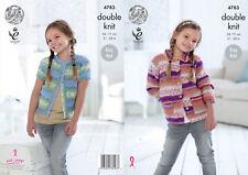 King Cole Girls DK Knitting Pattern Easy Knit Long Short Sleeve Cardigans 4783