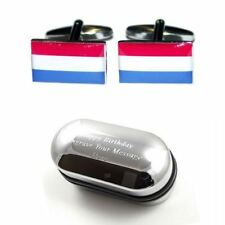 Netherlands Flag Cufflinks & Engraved Gift Box