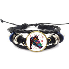 Horse Neon Glass Cabochon Bracelet Braided Leather Strap Bracelets