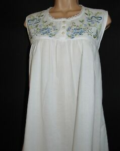 NWT April Cornell Gauze Cotton Embroidered Romantic, Nightie Maxi Nightdress, M